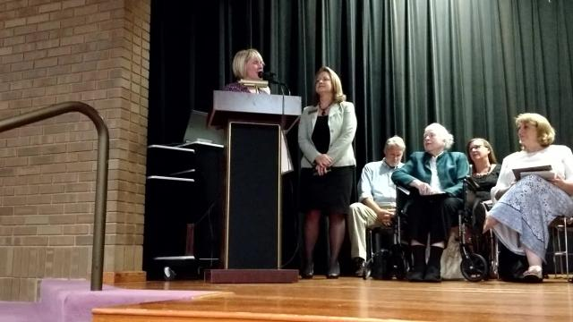 The main branch of the Livonia library was dedicated to Robert and Janet Bennett Monday.