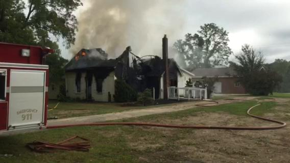 Three fire departments -- Mussey, Emmett and Memphis -- are battling a fire at an unoccupied house on Hackman Road.
