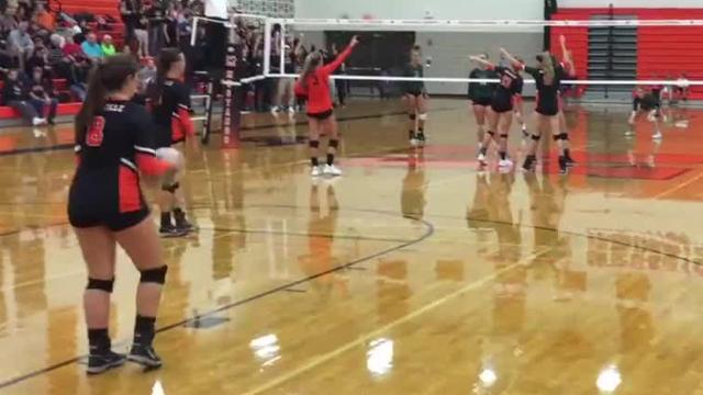 The Wildcats sweep a formidable Northville squadin three sets, 25-18, 25-18, 25-21.