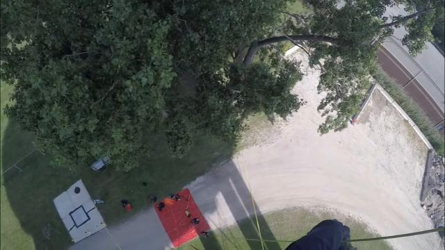 Rappel the Bancroft Street water tower with a Port Huron firefighter.