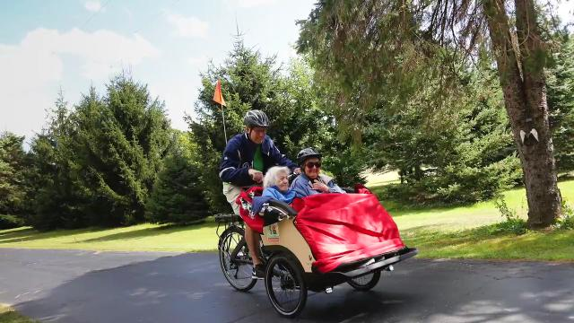 Crosaires in Williamston is a home for the elderly.  Owner Todd Walter raised $8,000 for a trioBike Taxi, and elderly residents are now able to feel the elation of the wind blowing in their hair again as they saddle up for a ride.
