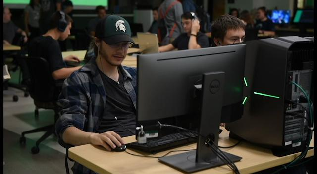 A group Michigan State University students came together to play video games Wednesday, Sept. 13th, 2017, in the Communication Arts and Sciences building on the MSU campus in East Lansing.