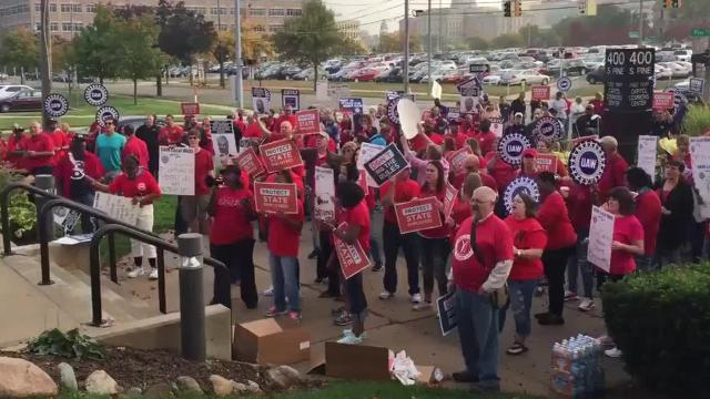 Union members and supporters gather to show support for union bargaining rights. the Michigan Civil Service Commission meets this morning to discuss eliminating some of these rights.