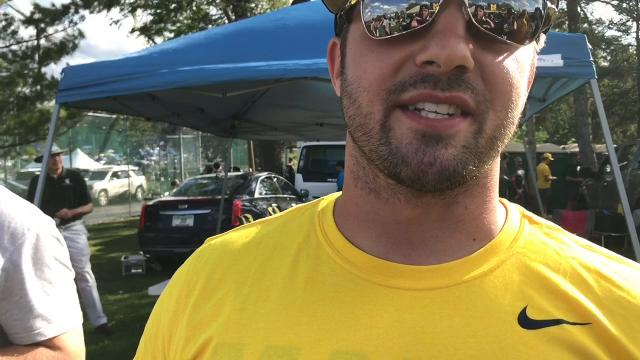 MSU and U-M fans tailgating before the Oct. 7, 2017 game in Ann Arbor share their thoughts on who will win the game.