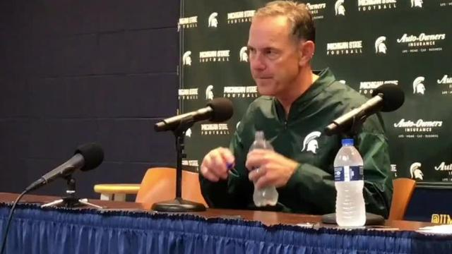 Michigan State Spartans hold a press conference after their win at University of Michigan in Ann Arbor on Saturday.