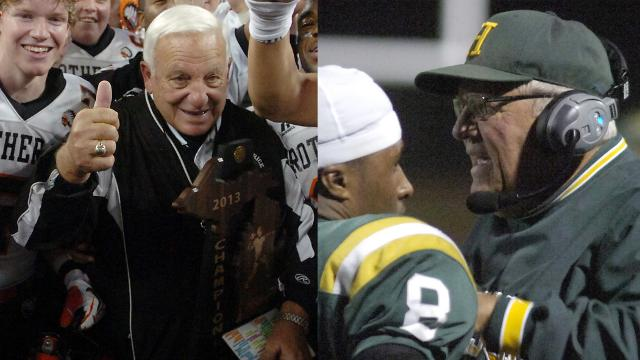 Al Fracassa, retired football coach at Birmingham Brother Rice and current coach for Farmington Harrison, John Herrington, are tied for the most wins in Michigan at 430. They sat down with Hometown Life to talk about their storied careers.
