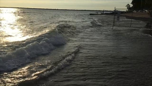 Winds from the north and northeast should cause waves to build along the Lake Huron shore Tuesday and Wednesday. A small craft advisory is in effect today.