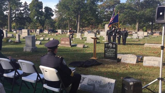 Port Huron police unveiled a new headstone for the only officer killed in the line of duty in the history of the department.