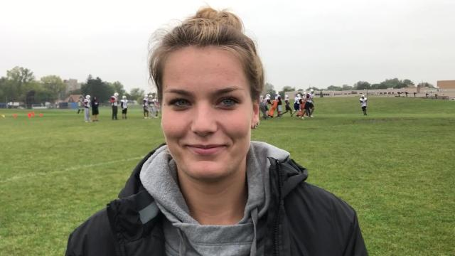 Alex Sherlock of Garden City High School is a football placekicker, and she will go head-to-head on Oct. 20 against another female kicker -- who is on North Farmington.