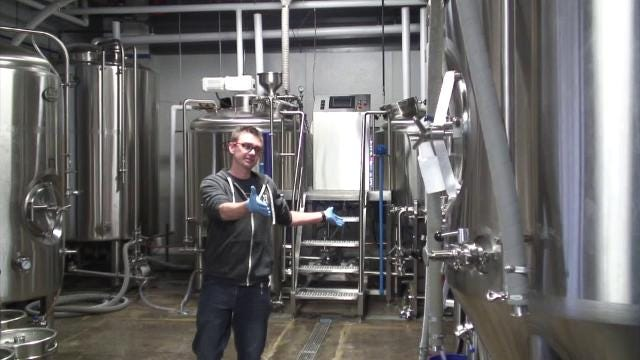 Adam Stout, head brewer at Howell's Aberrant Ales, gives a walkthrough of the brewing process at the microbrewery.