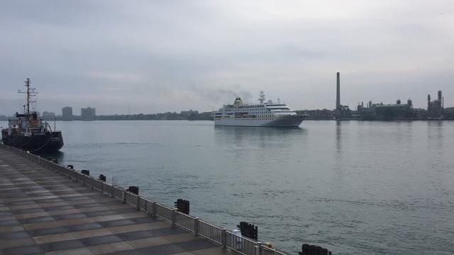 The cruise ship Hamburg heads down the St. Clair River Saturday, Oct. 14, 2017