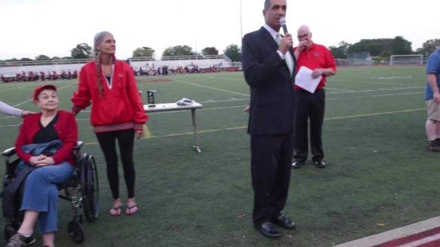 The late Rick Austin and Larry Joiner are honored for their contributions to Churchill High School athletics