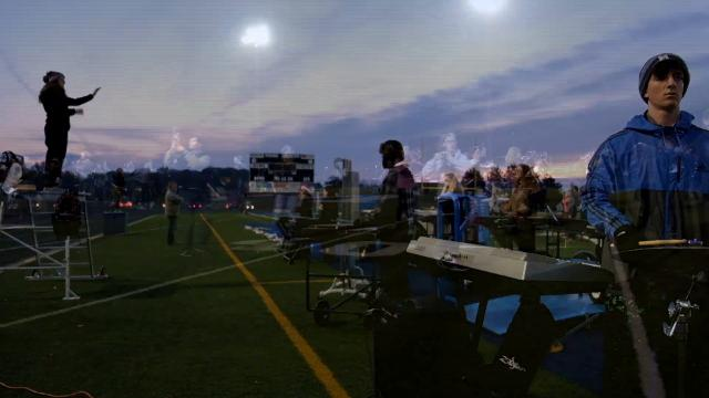 """The Marysville Viking Regiment run through part of their show, titled """"The Bells of Christmas,"""" on the morning of Nov. 3. This weekend, the band will travel to Ford Field to compete in the Michigan Competing Bands Association State Championship."""