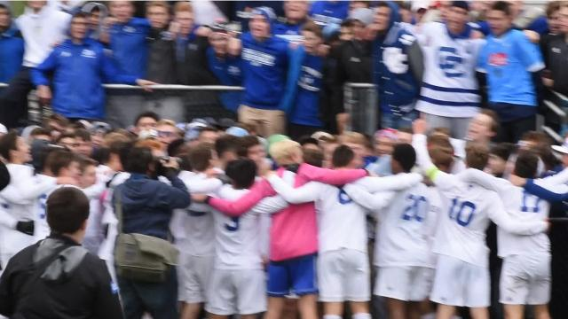 """Despite all the success Detroit Catholic Central has had in state tourneys, a soccer title has eluded the school since it began playing the sport in 1978. That is until Saturday at Stoney Creek High School when the Shamrocks defeated Walled Lake Central 1-0 for its first-ever title. And following school tradition - they followed it up with """"Mary Alma Mater."""""""
