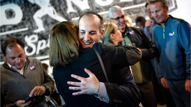 Andy Schor celebrates on Nov. 7, 2017 after being elected as Lansing's next mayor.