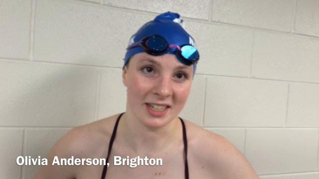 Interviews with Olivia Anderson and Megan Lubinski of the Brighton girls swim team, which hopes to win a Division 1 state championship on Saturday.