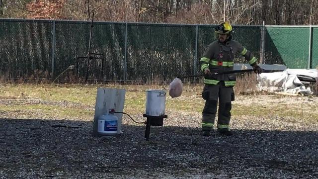 Delta Township Fire Department shows the dangers of deep frying a turkey.