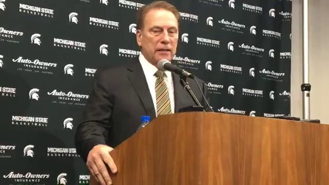 Michigan State basketball coach Tom Izzo meets with the press after the Spartans win at Breslin Center. Chris Solari/DFP