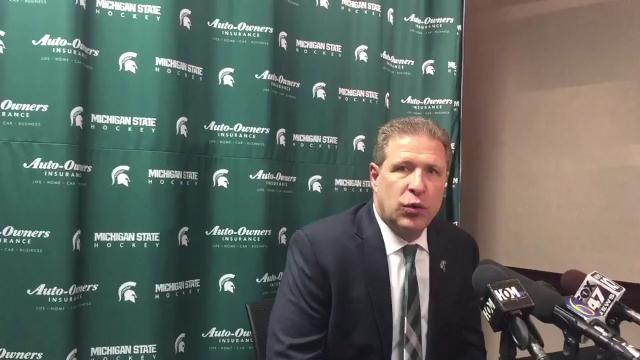 Michigan State hockey coach Danton Cole talks about facing Notre Dame's stifling defense and the impact of the season's best crowd at Munn Ice Arena Friday night.