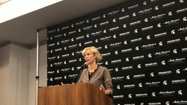 Michigan State women's basketball coach Suzy Merchant discusses her team's showing in a narrow win over Western Michigan on Sunday, Dec. 3, 2017. Brian Calloway | LSJ