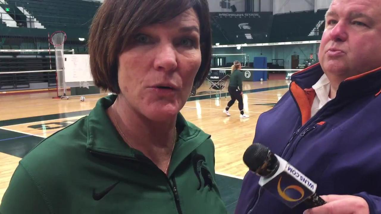 Michigan State volleyball coach Cathy George discusses the Spartans' upcoming matches with Illinois and potentially Penn State in the NCAA tournament regional semifinals and finals this weekend.