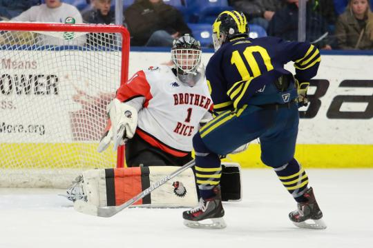 Hartland coach Rick Gadwa and forwards Josh Albring and Jake Behnke talk about the hockey game against Birmingham Brother Rice at 6:30 p.m. Saturday at Eddie Edgar Arena. The teams have met deep in the state playoffs the last three seasons.