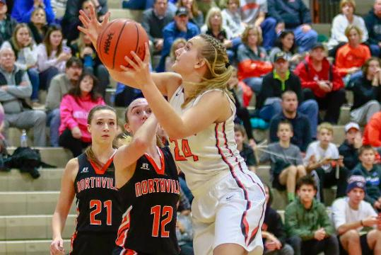 Dana Schemanske hit a 3-pointer with 29 seconds left to give Brighton the lead for good in a 39-37 victory over previously unbeaten Northville. Schemanske and both coaches talk about the game.