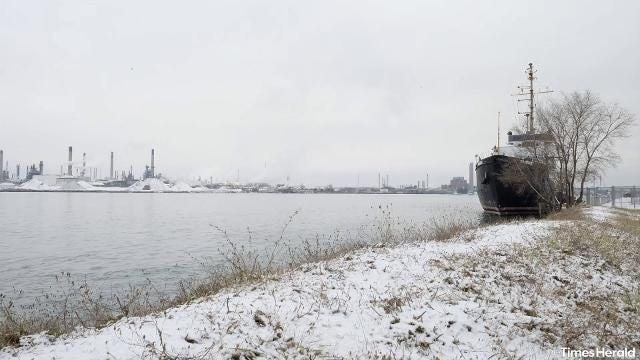 Snow on the ground and cold temperatures don't discourage ships from cruising up and down the St. Clair River, or people from enjoying time along it Dec. 22.