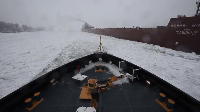 On Wednesday, Jan. 10, the Interlake Steamship Co. Mesabi Miner became stuck in the ice on the St. Clair River. The USCGC Neah Bay, along with the CCGS Samuel Risley, worked for about five hours to free the 1004-foot freighter.