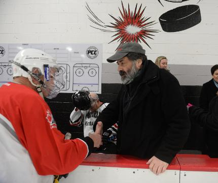 The Rev. Dimitrie Vincent from St. Thomas Orthodox in Farmington Hills suffered a serious spinal cord injury in November playing hockey. He recently returned to the rink during a fundraiser to support his recovery.