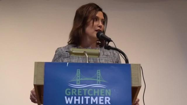 Candidate for Governor Gretchen Whitmer speaks to Livonia Democratic Club
