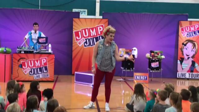 Students at Bartlett Elementary School got an interactive lesson in healthy eating from the Jump with Jill assembly.
