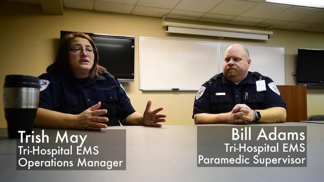 Tri-Hospital EMS supervisors Trish May and Bill Adams talk about how first responders are coping with the opioid crisis.