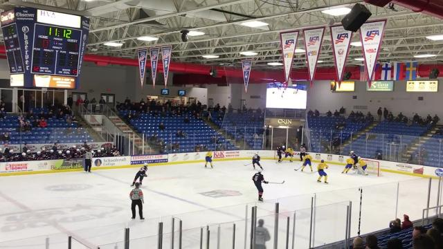 The 2018 Under-18 Five Nations Tournament at USA Hockey Arena in Plymouth, featuring the U.S. vs. Sweden.