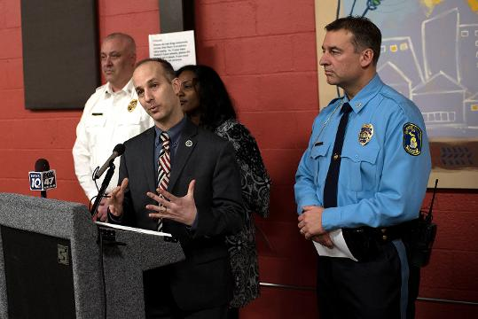 Lansing Mayor Andy Schor declared a state of emergency in the city of Lansing during a press conference with other area officials regarding the potential flood danger in the Lansing area on Wednesday, Feb. 21, 2018, at the Allen Neighborhood Center.