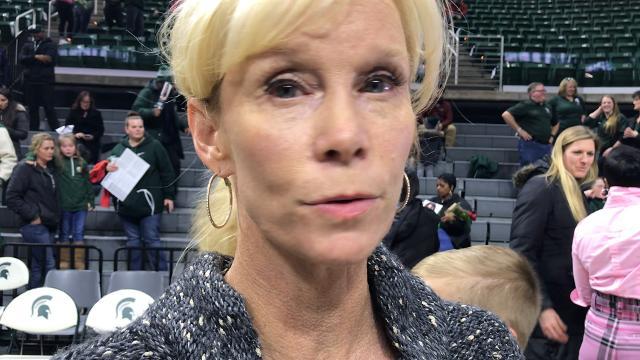 Michigan State women's basketball coach Suzy Merchant reflects on Branndais Agee's six-year journey following a win over Wisconsin on Feb. 21, 2018. Brian Calloway | LSJ