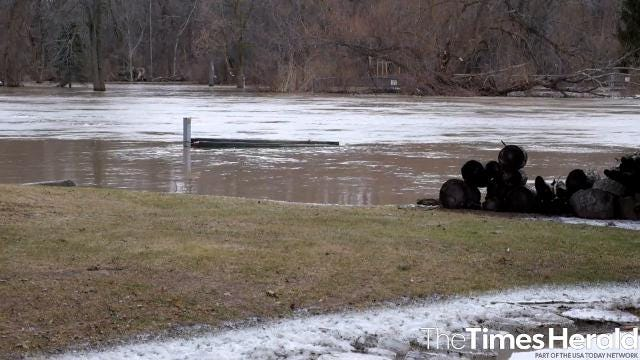 Flooding around Port Huron and Port Huron Township, Feb. 22. Several days of heavy rain and melting snow led to high water levels in the Black River.