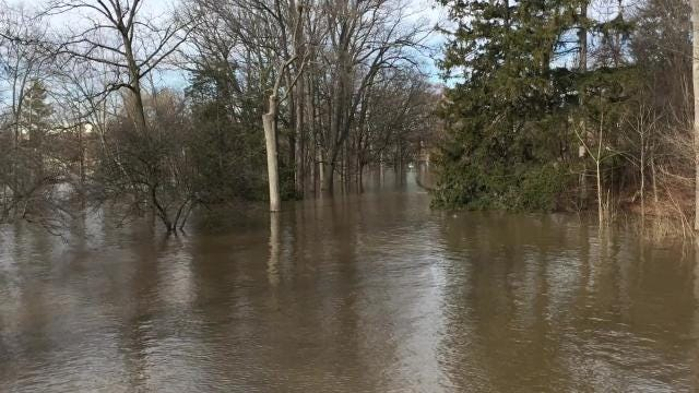 This video shows flooding along the Red Cedar River on Michigan State's campus.