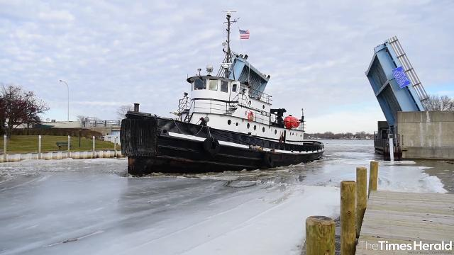 The Manitou breaks the ice at the mouth of the Pine River in St. Clair Feb. 22.