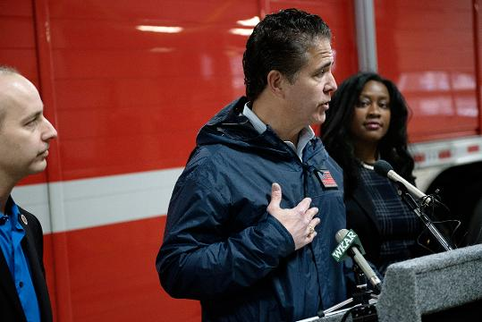 U.S. Rep. Mike Bishop talks about Lansing's flooding after he toured sites that were affected most by the disaster on Friday, Feb. 23, 2018, at Lansing Fire Department Station 8.