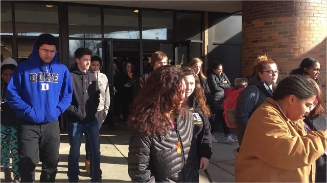 Students walked out of the building at 10 a.m. to honor the victims of the school shooting in Parkland, Florida last month.