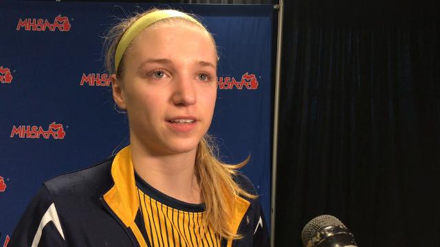 See highlights and hear comments from senior Emily Spizley following the Pirates' state semifinal loss to Detroit Edison at Calvin College on March 15, 2018. Brian Calloway | LSJ