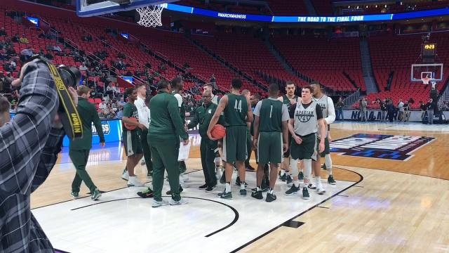 The Michigan State men's basketball team held an open practice at Little Caesars Arena in Detroit on March 15, 2018, before its NCAA tournament opener vs. Bucknell.