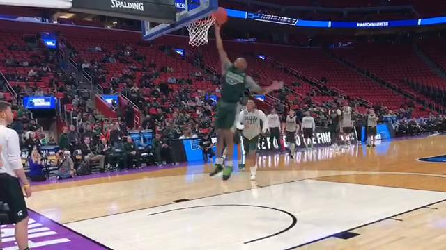 The Michigan State men's basketball team showed off its dunking skills during the open practice on Thursday, March 15, 2018, before its NCAA tournament opener at Little Caesars Arena in Detroit.