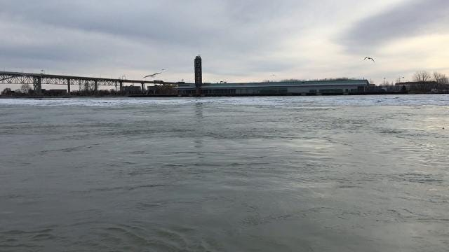 Ice floes move down the St. Clair River from Lake Huron.