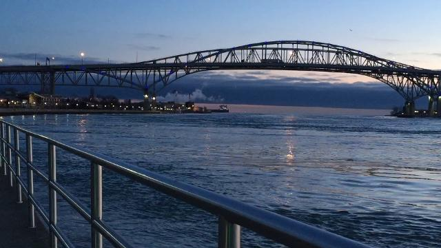 A large freighter moves out of the St. Clair River and into Lake Huron