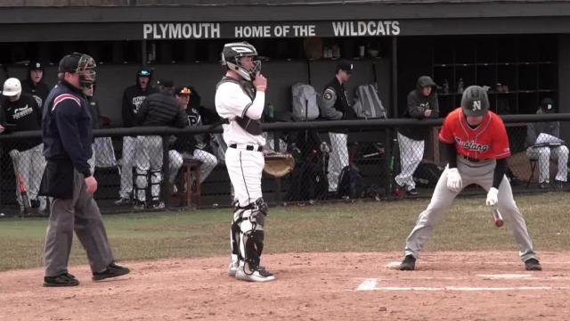 Plymouth quarterback Zach Beadle broke a leg playing against Livonia Churchill on September 29 of last year. He's back, catching for Plymouth Wildcats baseball.