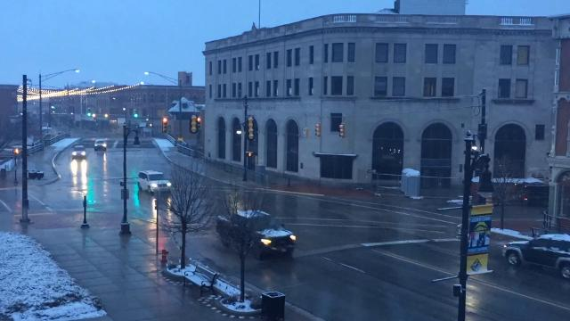 An April snow falls in downtown Port Huron