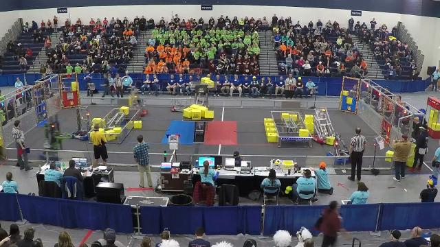 The FIRST Robotics district competition is being held at Marysville High Scool Friday and Saturday, April 6-7. The event puts robotics teams from area high schools against each other in a video game-themed competition.