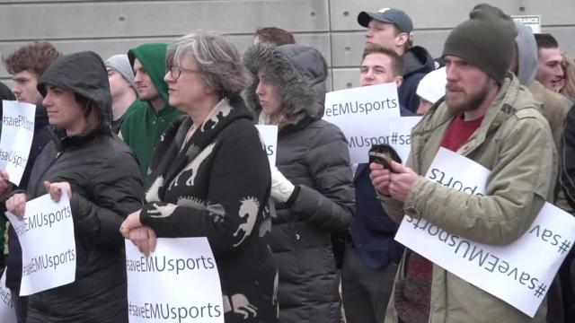 Snow and cold temperatures did not prevent protesters from raising their voices to battle the elimination of several men's and women's sports.